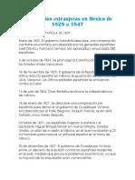 Intervención extranjeras en México de 1829 a 1847
