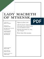 Nov 10 Lady Macbeth