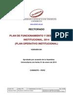Plan Funcionamiento Desarrollo Institucional 2014 Actualizado 2