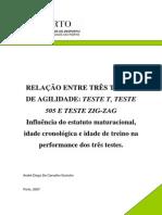 Relacao Entre Tres Testes de Agilidade Teste T Teste 505 e Teste ZIG-ZAG Influencia Do Estatuto Maturacional Idade Cronologica e Idade de Treino Na Performance Dos Tres Testes