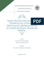 Factor Familiar Asociado A La Tendencia De Conductas Delictivas En Adolescentes en la ciudad de Toluca, Estado de México.