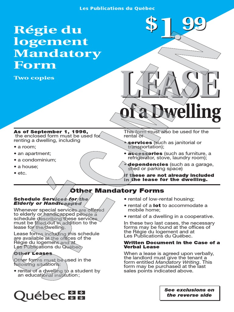 Standard Quebec Lease Assignment Law Lease