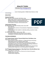 Resume CV 2015 Teaching Alison Trimble
