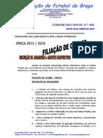 CO N.º 484 ÉPOCA 2015_2016__INSCRIÇÃO DE JOGADORES_FILIAÇÃO DE CLUBES