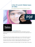 The Latest From the UN Summit Malala Hopes to Return to Swat Valley