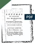 Lettres de Madame La Marquise de Pompadour - 1880