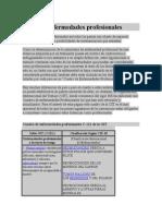 Tipos y definición de Enfermedades Profesionales.