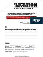 APPLICATION FOR POLITICAL ASYLUM IN IRAN