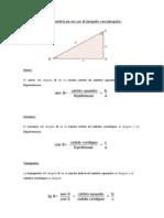 Razones trigonométricas en un triángulo rectángulo y en la circunferencia goniométrica