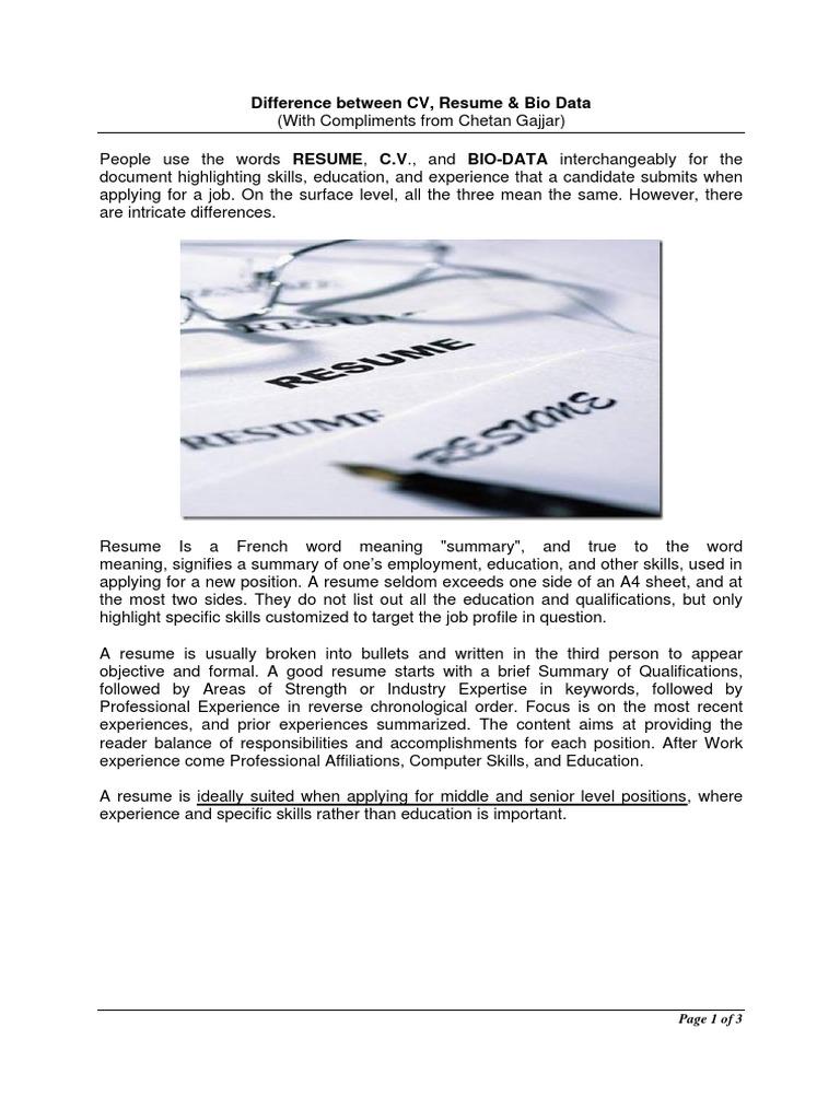 difference between resume cv biodata résumé labour