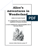Alice's Adventures in Wonderland, relato de Lewis Carroll en comparación con la traducción española de Ramón Buckley y con la adaptación cinematográfica de la factoría Disney