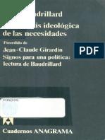 Baudrillard Jean - La Genesis Ideologica de Las Necesidades