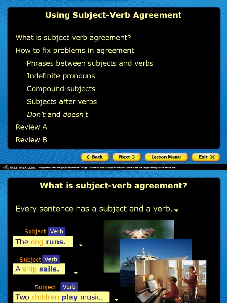 Level1 Lesson04 V2 Using Subject Verb Agreement Subject Grammar