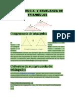 Triangulos Congruentes y Semejantes para trigonometria analitica