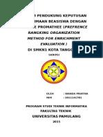 Sistem Pendukung Keputusan Penerimaan Beasiswa Dengan Metode Promathee