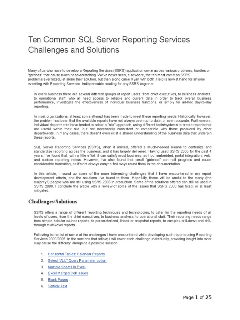 Ten Common SQL Server Reporting Services Challenges and Solutions