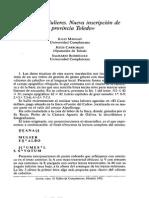 Mangas et alii. Deana y Mulieres. Nueva Inscripción en La Provincia de Toledo