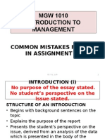 Common Mistakes Found in Assignment 1