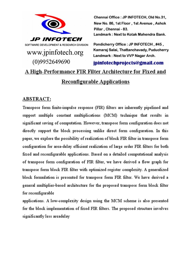 A High-Performance FIR Filter Architecture for Fixed and