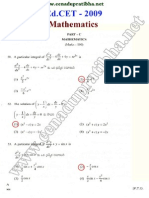Ed.CET 2009 Mathematics Question Paper with Answers