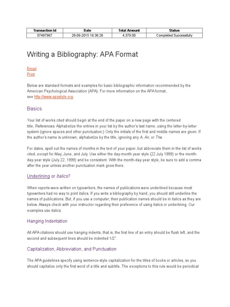 Bibliography | Citation | Apa Style
