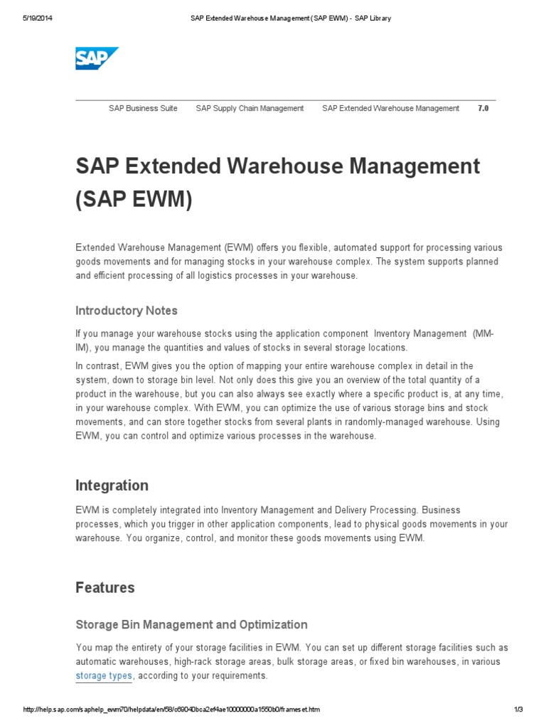 SAP Extended Warehouse Management (SAP EWM) - SAP Library pdf