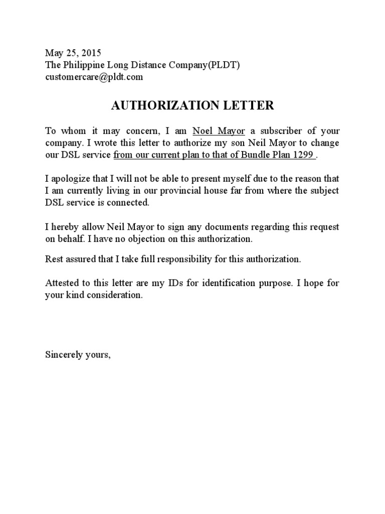 Pldt authorization letter sample for Loan to build a house on land