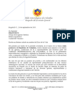CIC-SECGRAL-CO0015 - Carta al Papa Francisco - Audiencia en Colombia