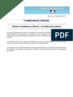 Communiqué du préfet Nièvre à la suite des gerbes vandalisées