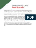 Mahendra Singh Dhoni Biography | Dhoni Profile | Dhoni Information | Biography of Mahendra Singh | DHONI WORLD