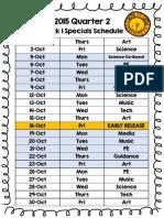 2015 Q2 Specials Schedule