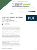 28 - 09 - 15 Fin de política monetaria expansionaria de EU, en puerta
