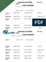 Horarios de Pileta Libre Inv 2015 Por Mes Limitada