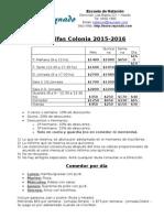 Tarifas Colonia 2015-2016