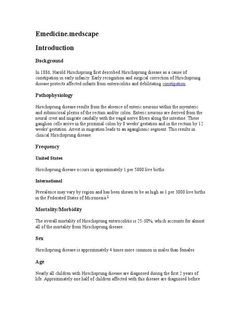 Hirschsprung disease who faced