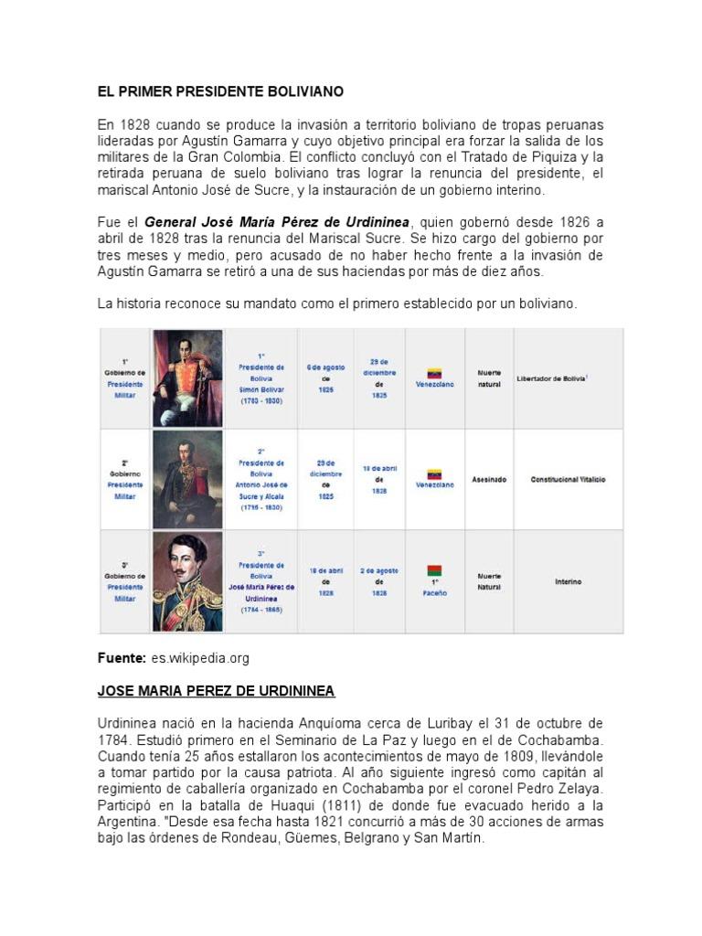 dc1985798 Quien Fue El Primer Presidente Boliviano