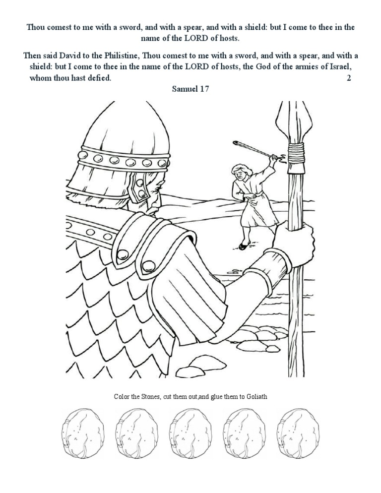 David and Goliath Coloring Page and Craft