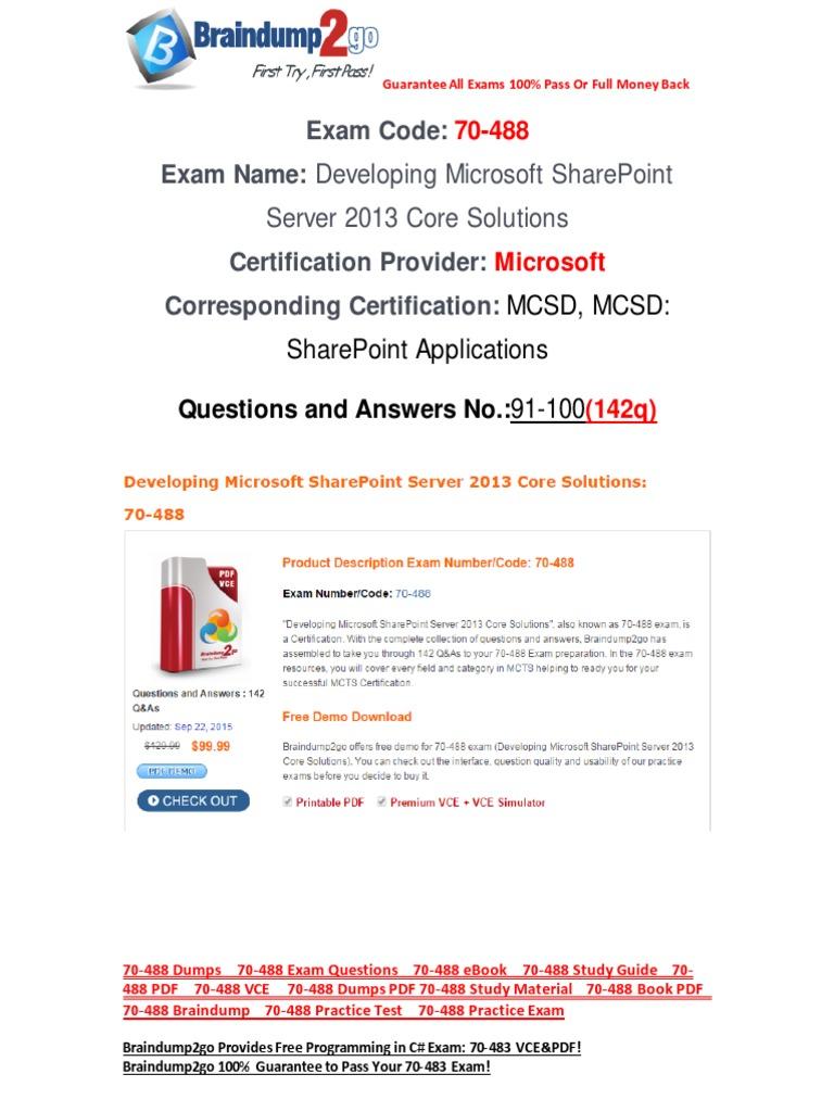 Freebraindump2go 70 488 Study Guide Download 91 100 Share Point