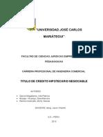 TCHN titulo de credito hipotecario negoiable