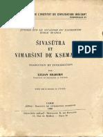 Sivasutra Et Vimarsini de Ksemaraja - Lilian SIlburn