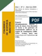 _espacio Pampino,Disciplinamiento Laboral y Lucha de Clase. Una Discusión en Torno a Los Patrones de Asentamiento Salitreros en La Región de Antofagasta