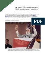 Bihar Election 2015 - NDA Plans Campaign Blitz in Bihar, Modi to Address Over 20 Rallies