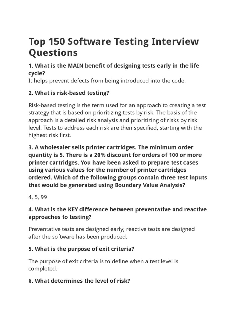 top 150 software testing interview questionsdoc software testing software bug