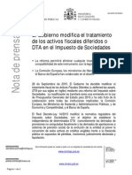 Nota de prensa sobre la tributación de los DTA