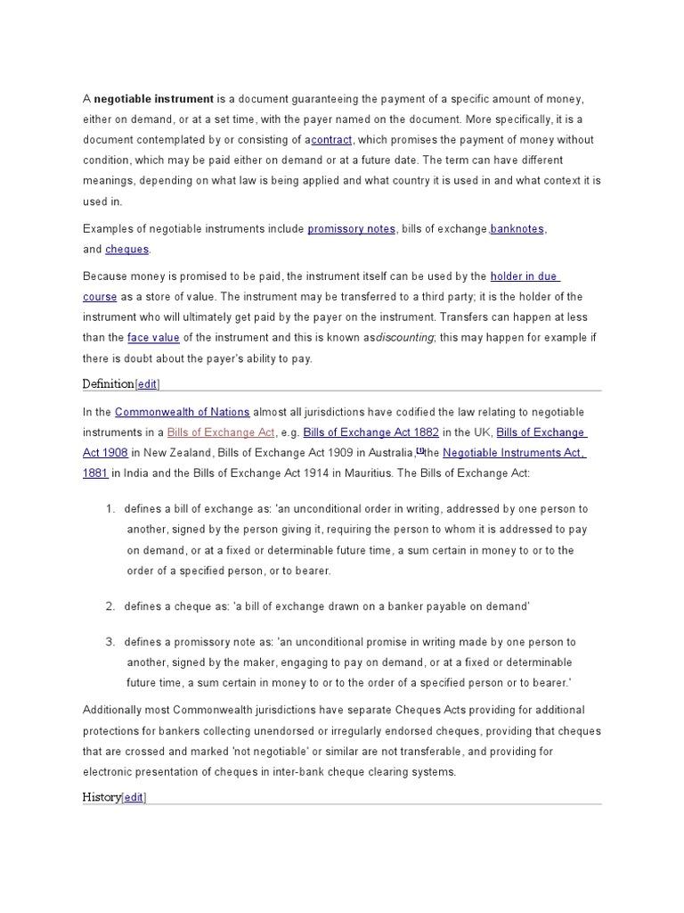 Bills of exchange project negotiable instrument common law altavistaventures Choice Image