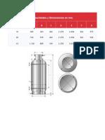 Capacidades y Dimensiones Cilindros GLP en Mm