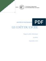 La synthèse du rapport de la Cour des comptes sur le coût du lycée