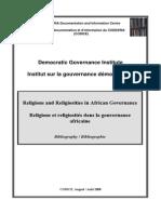 Religions Et Religiosites Dans La Gouvernance Africaine