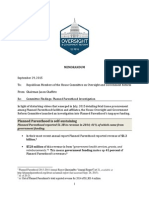 Planned Parenthood House Committee on Oversight and Government Reform Chairman Memo