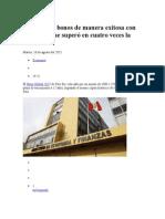 Perú Colocó Bonos de Manera Exitosa Con Demanda Que Superó en Cuatro Veces La Oferta